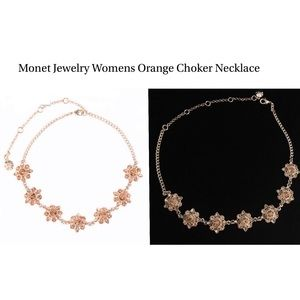 Monet Jewelry  Womens Orange Choker Necklace   NWT